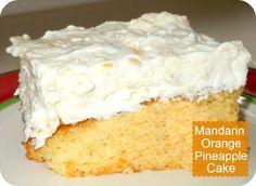 Confessions of a Semi-Domesticated Mama: Mandarin Orange Pineapple Cake Recipe Köstliche Desserts, Delicious Desserts, Dessert Recipes, Mandarin Orange Pineapple Cake Recipe, Crushed Pineapple, Sugar Free Pudding, Salty Cake, Cake Mix Recipes, Savoury Cake