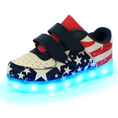 Shoes Quality Shoe Cap Directly From China Plum Suppliers Boys Sneakers 2017 Five Pointed Star Flag Children With Light Led