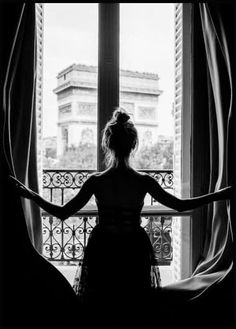 Girl in Paris Window Poster - Photo Noir et Blanc - Posterstore. Black And White Posters, Black White, Black And White Pictures, Prada Marfa, Ballerina Poster, Photo Pop Art, Chanel Poster, Window Poster, Black White Photography