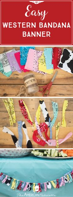 Easy Western Bandana Banner; Inexpensive party decor for a farm-themed, ranch-themed, or western-themed party; kids birthday party decor