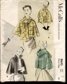 McCalls 8645 from 1951 cape...LOVE THIS!  I adore capes and this one is perfect for so many things.....wish I could find this for sale!!!!   Anyone???