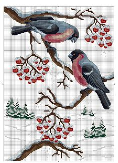 Bullfinch in cross-stitch 123 Cross Stitch, Cross Stitch Bird, Cross Stitch Borders, Cross Stitch Charts, Cross Stitch Designs, Cross Stitching, Cross Stitch Embroidery, Cross Stitch Patterns, Graph Paper Art
