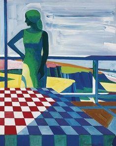 Roland Petersen (American, b. Balcony figure, Oil on canvas, x cm