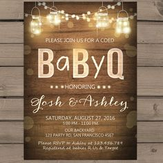 baby q invitation coed bbq baby brewing pink girl | baby shower, Baby shower invitations