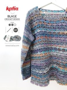 I share a new crochet pattern with you: my Eurybia crochet sweater made with Cotton-Merino Craft. Blouse Au Crochet, Crochet Sweater Design, Crochet Pullover Pattern, Gilet Crochet, Crochet Jumper, Crochet Jacket, Crochet Designs, Knit Crochet, Crochet Pattern