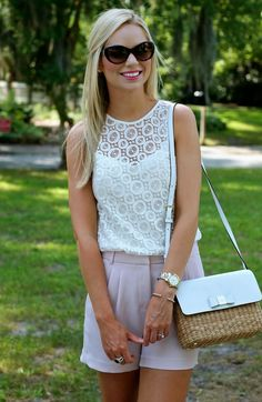 Pink high waist shorts and a lace top