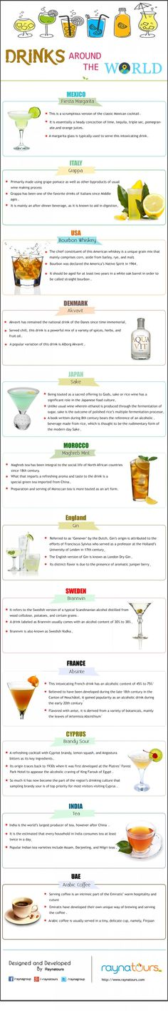 A nice infographic that looks at 12 iconic drinks from around the world with facts about their origin and how they're consumed >> https://www.finedininglovers.com/blog/food-drinks/iconic-drinks/