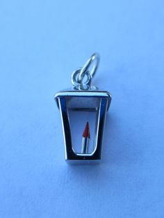 Vintage Sterling Silver English Lamp Post Red Enamel by PGSCoins