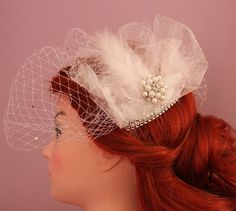 Rhinestone / feather half face birdcage veil - french / russian netting. decorated with rhinestones and brooch find on etsy - Oliwedding store