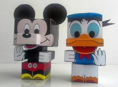 Mickey Mouse and Donald Duck Cube Crafts Free Paper Toys Download
