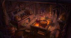 fantasy medieval kitchen concept artstation fireplace artwork interior heewon jang rooms landscapes