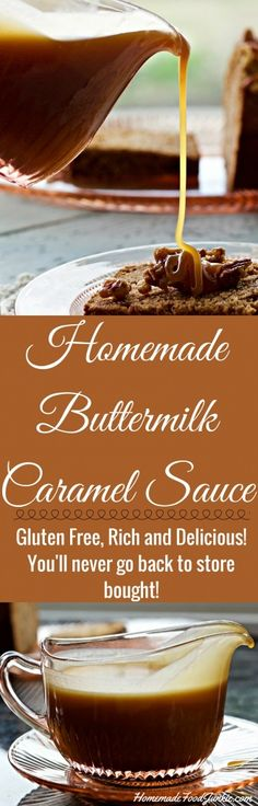 Homemade Buttermilk Caramel Sauce is Rich, thick and delicious. This sticky, buttery sauce uses real butter and buttermilk. The flavor is outstanding! You won't buy syrup for ice cream, desserts or pa Ice Cream Desserts, Easy Desserts, Delicious Desserts, Ice Cream Toppings, Homemade Buttermilk, Buttermilk Recipes, Buttermilk Ice Cream, Dessert Sauces, Dessert Recipes