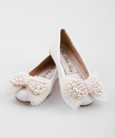 Crème Pearl Bow Ballet Flat | Daily deals for moms, babies and kids