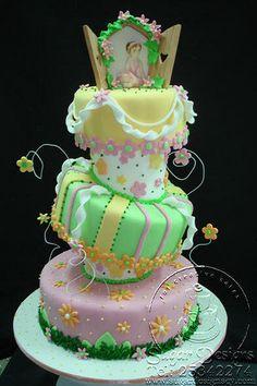 Topsy Turvy cake daisies and ballarina