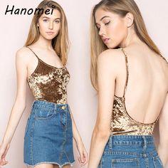2ab3f8ab8e08 US $11.93 10% OFF|Aliexpress.com : Buy New Velour Sexy Backless Bodysuit  Women Spaghetti Strap Tops 2019 Velvet Combinaison Femme Skinny Macacao  Slim Body ...