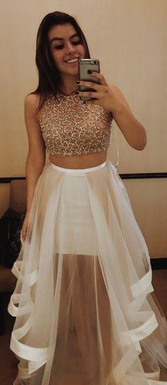 prom dresses, long prom dresses, champagne 2 pieces party dresses, elegant 2 pieces evening dresses