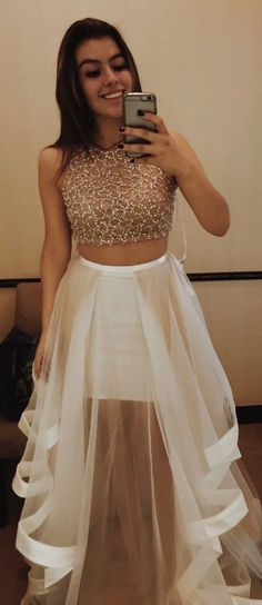 prom dresses, long prom dresses, champagne 2 pieces party dresses, elegant 2 pieces evening dresses