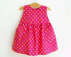YUMMY Dotted Baby Girl Overall Dress sewing pattern Pdf, children babies toddler, newborn 3 6 9 12 18 months 1, 2 years Instant Downlad
