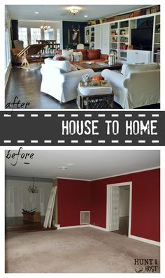 A house to home transformation. Done by us, not professionals. You can do it too! This large living room is cozied up to a library eclectic family room. www.huntandhost.com