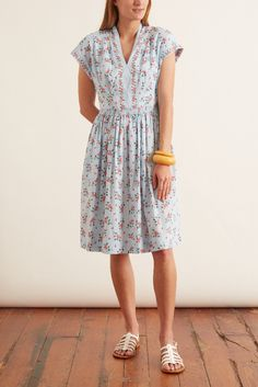 Gal Meets Glam: Cecily Dress in Blue/Coral Hampden Clothing, Gal Meets Glam, Coral Blue, Office Outfits, Modest Fashion, Smocking, Elastic Waist, Pants For Women, Short Sleeves