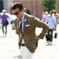 A tweed plaid blazer is great for dressing up & down