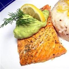 Grilled Salmon with Avocado Dip