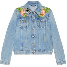 Gucci Embroidered Denim Jacket ($2,600) ❤ liked on Polyvore featuring outerwear, jackets, blue jackets, gucci jacket, floral print jacket, floral denim jacket and embellished jean jacket