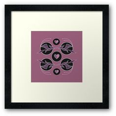 Flying dagon art nouveau inspired black and pink print  Charming cartoonish flying dragons forming  round shape wall art. Unique artistic artsy. Perfecr gift for her. High quality product designed by independent artist.
