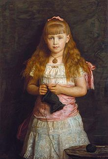 "Her Royal Highness Princess Marie ""Missy"" of Edinburgh (* later Queen of Romania. She was the eldest daughter of Alfred Duke of Edinburgh, Grandchild of Queen Victoria and Alexander II. of Russia. Painting 1882 by John Everett Millais John Everett Millais, Pre Raphaelite Brotherhood, Royal Collection Trust, Knit Art, Pictures Of People, Queen Victoria, Edinburgh, Royalty, Wonder Woman"