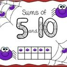 FREE! This is a fun product for students to practice sums of 5 and sums of 10. This product includes: ~ spider ten frame ~ choice of colored or black and...
