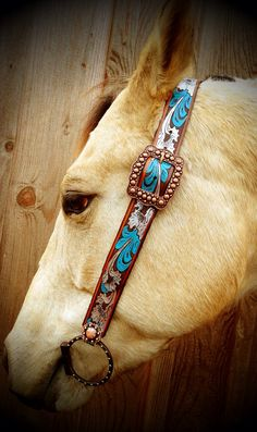 Belt Headstall painted  by TTLeatherCO on Etsy, $60.00
