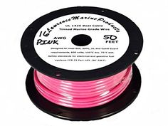 16 AWG Tinned Marine Primary Wire, Pink, 50 Feet. Designed to meet SAE, ABYC, UL and Coast Guard requirements, 600 volts, 105°C dry, 75°C wet. Tin plated copper stranding with a jacket resistant to moisture, oil, chemicals, gasoline fuel and excellent abrasion resistance. Safety standards for electrical and gasoline fuel systems CFR 33 Part 183.BC-5W2. High Flexibility. 122 inch. Type III 26/.0100 Stranding. Tinned Marine primary wire available in many colors and is also very...