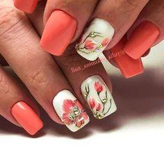 50 Colorful and Floral Nail Designs - Nail Designs - Nail Art Acrylic Nails Natural, Summer Acrylic Nails, Summer Nails, Spring Nails, Nail Art Designs, Flower Nail Designs, Floral Designs, Fancy Nails, Trendy Nails