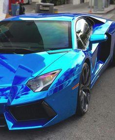 Chrome Blue Lamborghini