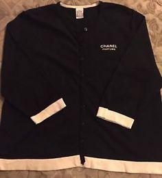 Chanel-Parfums-Sz-M-L-Black-With-Off-White-Trim-Cardigan-Sweater-Staff-Uniform