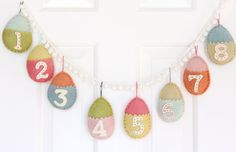 Felt Easter egg countdown to Easter (Sunday to Sunday) from Paint in my Hair