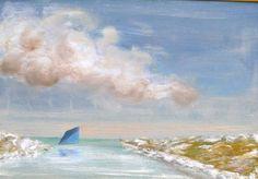 Cape Cod blue catboat sail listed Basquiat pal Kevin F Doyle original seascape  #Impressionism