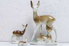 Vintage Figuren - Vintage Porzellan Rehe Wagner&Apel DDR Deko... - ein Designerstück von ProjektVintage bei DaWanda