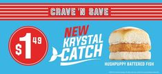 Hushpuppy-Battered Fish Sandwiches : Krystal Catch Fish Sandwich, Battered Fish, Hush Puppies, Krystal, Sandwiches, Bread, Food, Fish Batter, Fish Finger