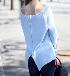 Aiduski Bcn Baby Blue Back Zip Knit Sweater