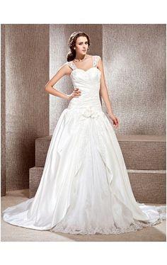 A-line Off-the-shoulder Chapel Train Satin Lace Wedding Dress