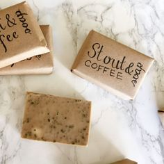 This soap has a nice mild scent of coffee, stout, shea butter, and nutmeg. It's simple to make and a great gift for men and women alike!