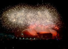 Fireworks light up the sky over the Fisht Olympic Stadium at end of the opening ceremony of the Sochi 2014 Winter Olympics on February 7, 20...