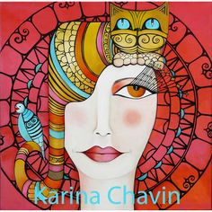 Challenge yourself with this Karina Chavinpic Art - Good Evening! jigsaw puzzle for free. Kunstjournal Inspiration, Art Journal Inspiration, Art And Illustration, Illustrations, Karla Gerard, Figurative Kunst, Mother Art, Naive Art, Fantastic Art