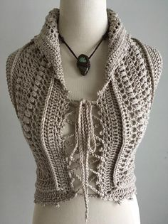 Unique, one of a kind vest with the Flower of Life design at the back. Beautiful and delicate stitch with picot border. Made with a Peruvian cotton and acrylic blend of a neutral pebble color. Size: Small / Medium Fits bust measurements of 33 inches to 36 Crochet Halter Tops, Crochet Shirt, Hand Crochet, Crochet Lace, Crochet Designs, Crochet Patterns, Crochet Hook Set, Crochet Mandala, Flower Of Life