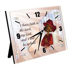 A new table top clock that can also serve as a wall clock featuring religious themed African American artwork and biblical scripture. #faith #church #blackart #gift #clock...