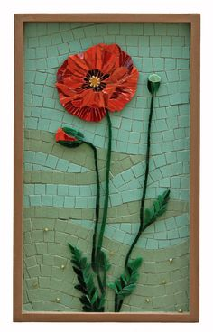 Crystal Thomas by Lin Schorr - like the effect of the poppy laid over the background Mosaic Tile Art, Mosaic Pots, Mosaic Birds, Mosaic Artwork, Mosaic Flowers, Mosaic Crafts, Mosaic Projects, Mosaic Glass, Glass Art