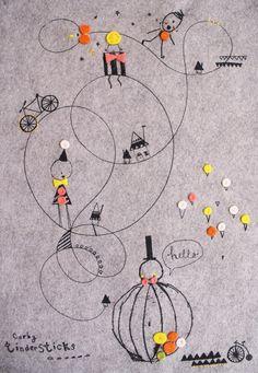 Vilten poster met ballon print - Corby Tindersticks