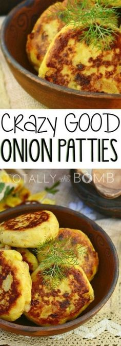 A truly delicious recipe that will blow people's minds! These onion patties are perfect as a side to a meatloaf, on a thick bun with a hamburger, some fresh lettuce, and a sliced juicy red tomato on dinners. Try them today, they're seriously good! Side Dish Recipes, Vegetable Recipes, Vegetarian Recipes, Cooking Recipes, Chef Recipes, Veggie Dishes, Food Dishes, State Fair Food, Vegetable Side Dishes