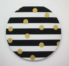 SALE -- Mouse Pad mouse pad / Mat - Black and white stripes with gold Metallic dots - round or rectangle - office accessories desk home d